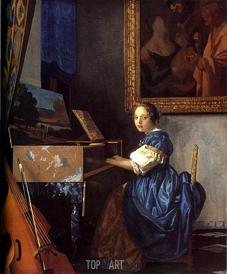 Lady Seated at a Virginal, c.1673/75 | Vermeer | Gemälde Reproduktion