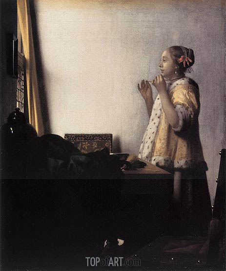 Woman with a Pearl Necklace, c.1664 | Vermeer| Gemälde Reproduktion