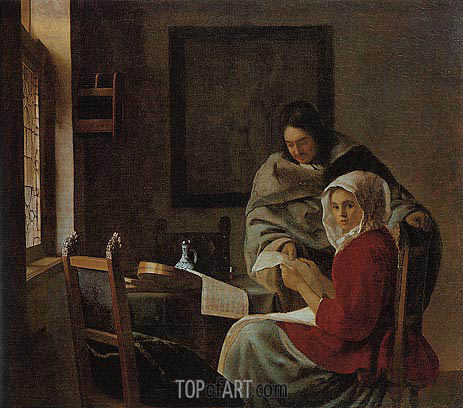 Girl Interrupted at Her Music, c.1660/61 | Vermeer| Painting Reproduction
