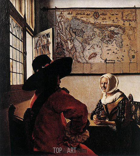 Officer with a Laughing Girl, c.1658/60 | Vermeer | Painting Reproduction