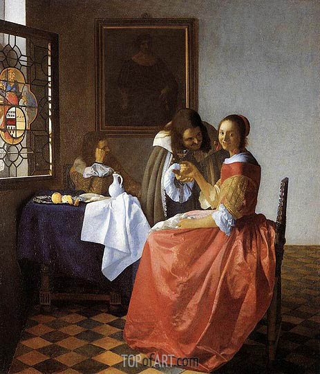 Vermeer | A Lady and Two Gentlemen (The Girl with the Wineglass), c.1659/60