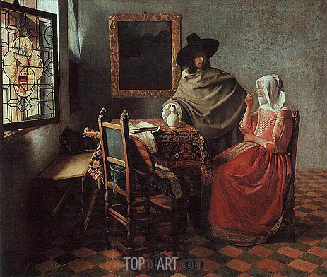 The Glass of Wine (Lady Drinking and a Gentleman), c.1658/60 | Vermeer| Gemälde Reproduktion