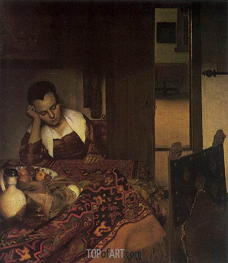 A Girl Asleep, c.1657 | Vermeer| Gemälde Reproduktion