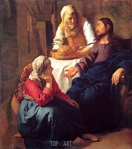 Christ in the House of Mary and Martha, c.1655 | Vermeer| Painting Reproduction