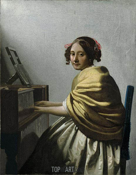 A Young Woman Seated at the Virginals, c.1670 | Vermeer| Painting Reproduction
