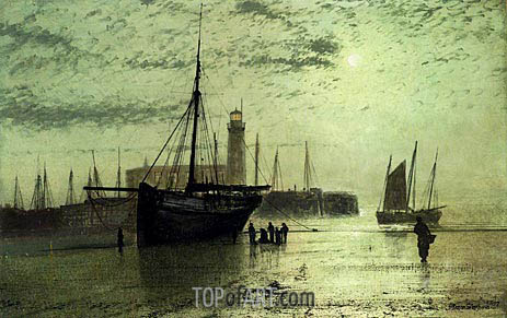 The Lighthouse At Scarborough, 1877 | Grimshaw | Gemälde Reproduktion