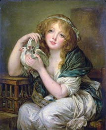 Girl with the Doves (after Greuze), undated von Constable | Gemälde-Reproduktion