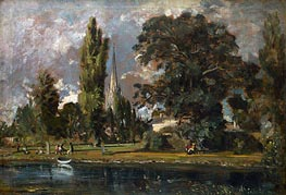 Salisbury Cathedral and Leadenhall from the River Avon, 1820 by Constable | Painting Reproduction
