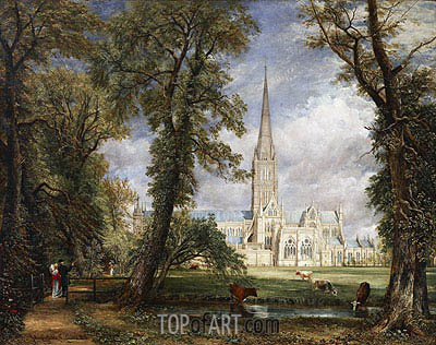 Salisbury Cathedral from the Bishop's Garden, 1826 | Constable| Painting Reproduction