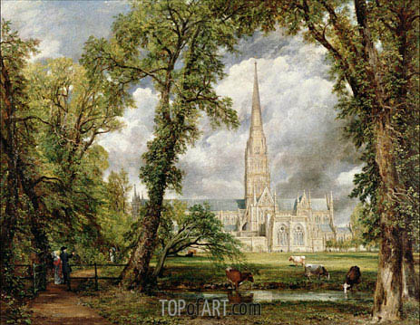 View of Salisbury Cathedral from the Bishop's Grounds, c.1822 | Constable| Painting Reproduction
