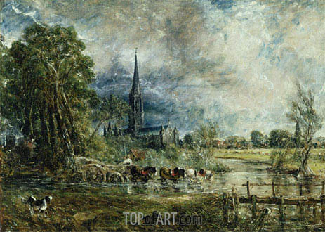 Salisbury Cathedral from the Meadows (Fording the River - Showery Weather), c.1829/31 | Constable | Gemälde Reproduktion