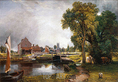 Dedham Lock and Mill, 1820 | Constable | Gemälde Reproduktion