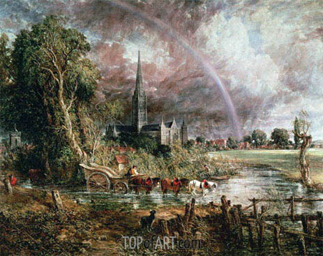 Salisbury Cathedral From the Meadows, 1831 | Constable | Gemälde Reproduktion