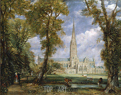 Salisbury Cathedral from the Bishop's Grounds, c.1825 | Constable| Painting Reproduction