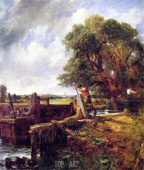 A Boat Passing a Lock, c.1823/25 | Constable | Painting Reproduction