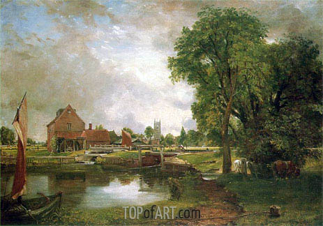 Dedham Lock and Mill, c.1820 | Constable | Painting Reproduction