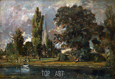 Salisbury Cathedral and Leadenhall from the River Avon, 1820 | Constable| Painting Reproduction
