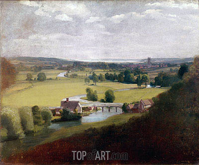 Constable | Stour Valley with Dedham in the Distance, c.1800
