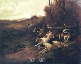 Fox Hunting, c.1850/00 von John Gifford | Gemälde-Reproduktion