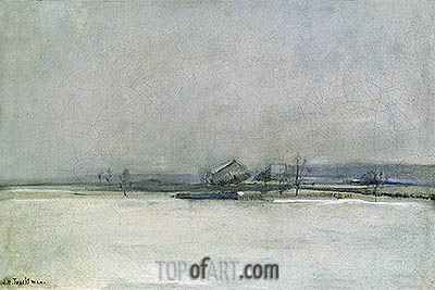 Winter Landscape with Barn, c.1885 | John Henry Twachtman | Gemälde Reproduktion