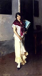 Italian Girl with Fan, 1882 by Sargent | Painting Reproduction