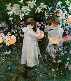 Carnation, Lily, Lily, Rose, c.1885/86 by Sargent | Painting Reproduction