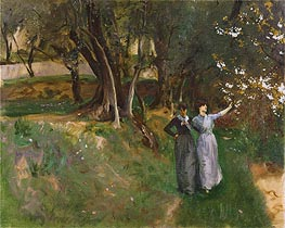 Landscape with Women in Foreground, c.1883 by Sargent | Painting Reproduction