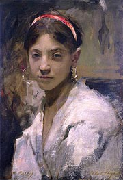 Portrait of a Capri Girl, 1878 by Sargent | Painting Reproduction