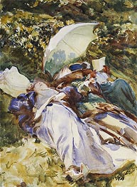 The Green Parasol, c.1910 by Sargent | Painting Reproduction