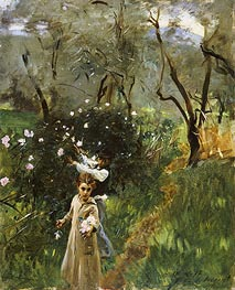 Gathering Flowers at Twilight, undated by Sargent | Painting Reproduction