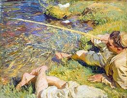 Val d'Aosta: A Man Fishing | Sargent | Gemälde Reproduktion