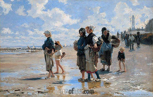 The Oyster Gatherers of Cancale, 1878 | Sargent| Gemälde Reproduktion