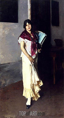 Italian Girl with Fan, 1882 | Sargent| Painting Reproduction