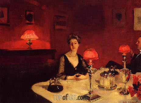 A Dinner Table at Night (The Glass of Claret), 1884 | Sargent | Gemälde Reproduktion