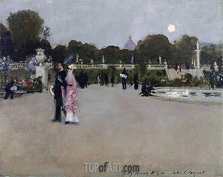 Luxembourg Gardens at Twilight, 1879 | Sargent| Painting Reproduction