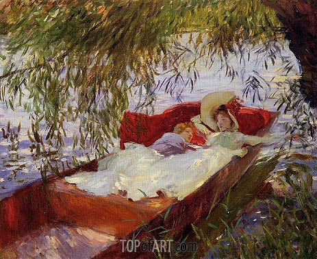 Two Women Asleep in a Punt under the Willows, 1887 | Sargent | Gemälde Reproduktion