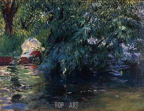 A Backwater, Calcot Mill near Reading, 1888 | Sargent| Gemälde Reproduktion