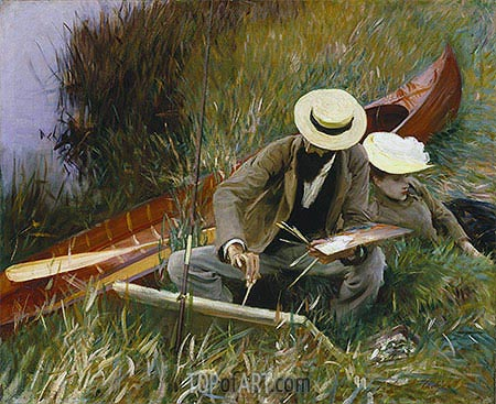 Paul Helleu Sketching with His Wife, 1889 | Sargent | Gemälde Reproduktion