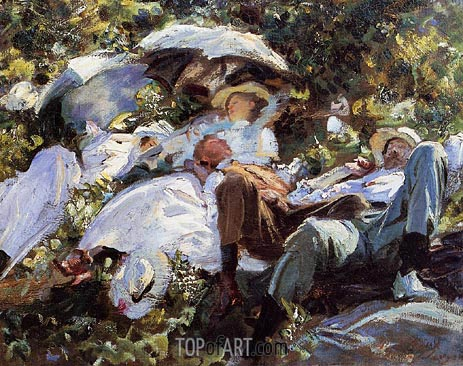 Group with Parasols (A Siesta), c.1908/11 | Sargent | Painting Reproduction