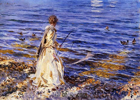 Girl Fishing, 1913 | Sargent | Painting Reproduction