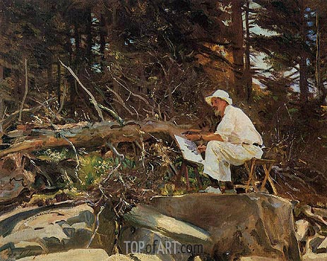 The Artist Sketching, 1922 | Sargent | Painting Reproduction