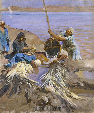 Egyptians Raising Water from the Nile, c.1890/91 | Sargent | Painting Reproduction