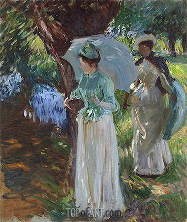 Two Girls with Parasols, 1888 | Sargent | Painting Reproduction