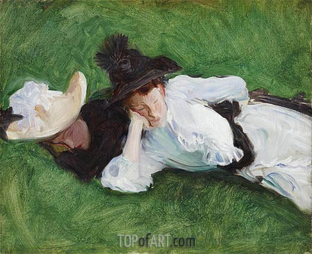 Two Girls on a Lawn, c.1889 | Sargent| Gemälde Reproduktion