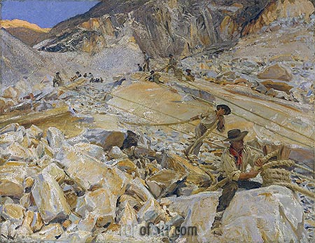 Bringing Down Marble from the Quarries to Carrara, 1911 | Sargent | Painting Reproduction