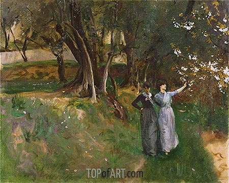 Landscape with Women in Foreground, c.1883 | Sargent | Gemälde Reproduktion