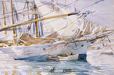 Yachts at Anchor, Palma de Majorca, 1912 | Sargent| Painting Reproduction