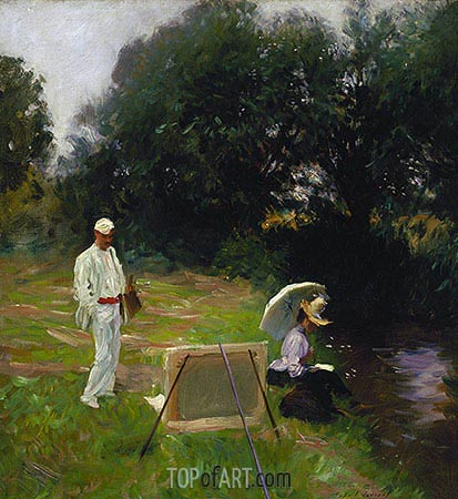 Dennis Miller Bunker Painting at Calcot, 1888 | Sargent | Painting Reproduction