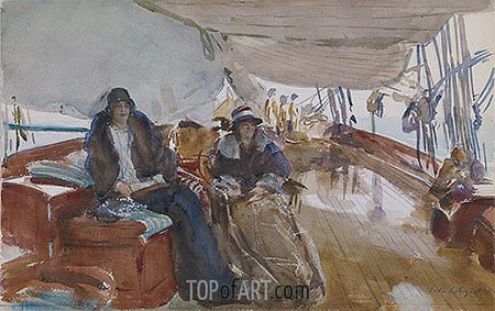Rainy Day on the Yacht, 1924 | Sargent| Painting Reproduction