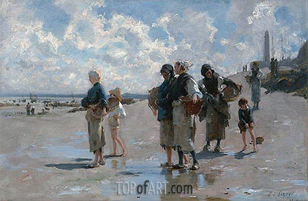 Fishing for Oysters at Cancale, 1878 | Sargent | Painting Reproduction